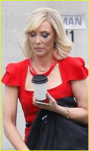 Cate Blanchett wears a face shield on the set