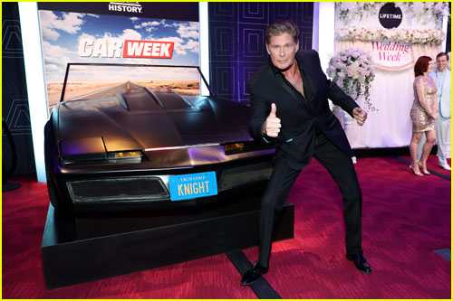 David Hassellhoff posing with a car