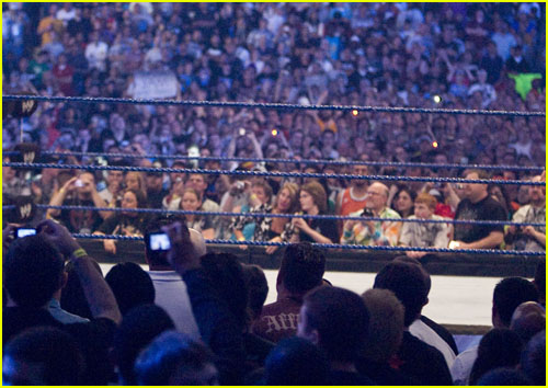 Wrestling ring with audience around