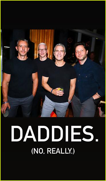 Anderson Cooper, Andy Cohen, Benjamin Maisani, and Derek Blasberg at Pride party