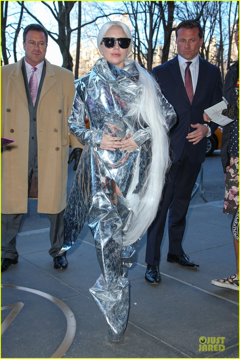 lady gaga shines in silver foil outfit 103078017