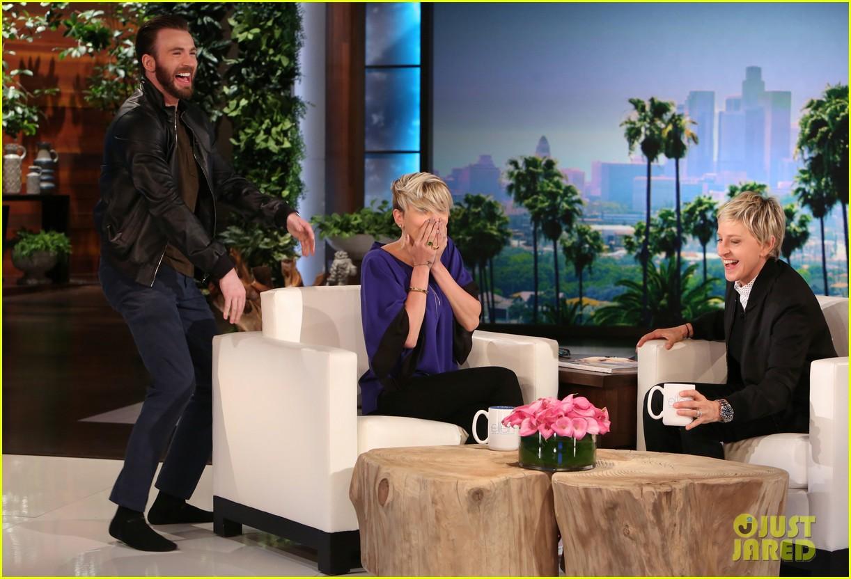 "Chris Evans scares Scarlett Johansson on ""Ellen""."