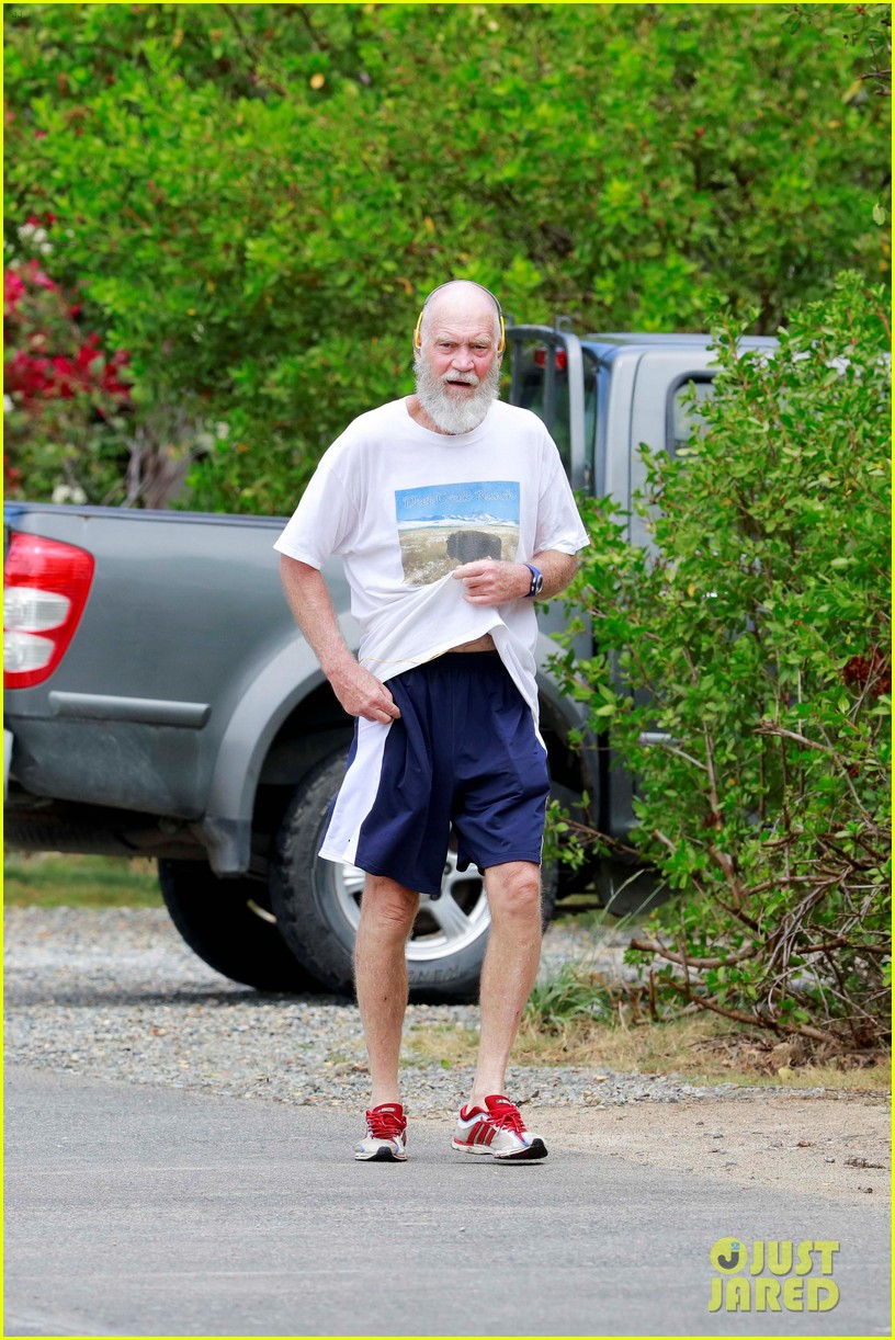 unrecognizeable david letterman goes for a jog in st barts 053614611