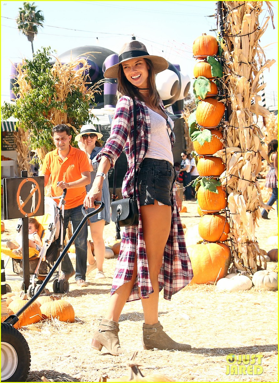 alessandra ambrosio visits a pumpkin patch with her kids 093782600