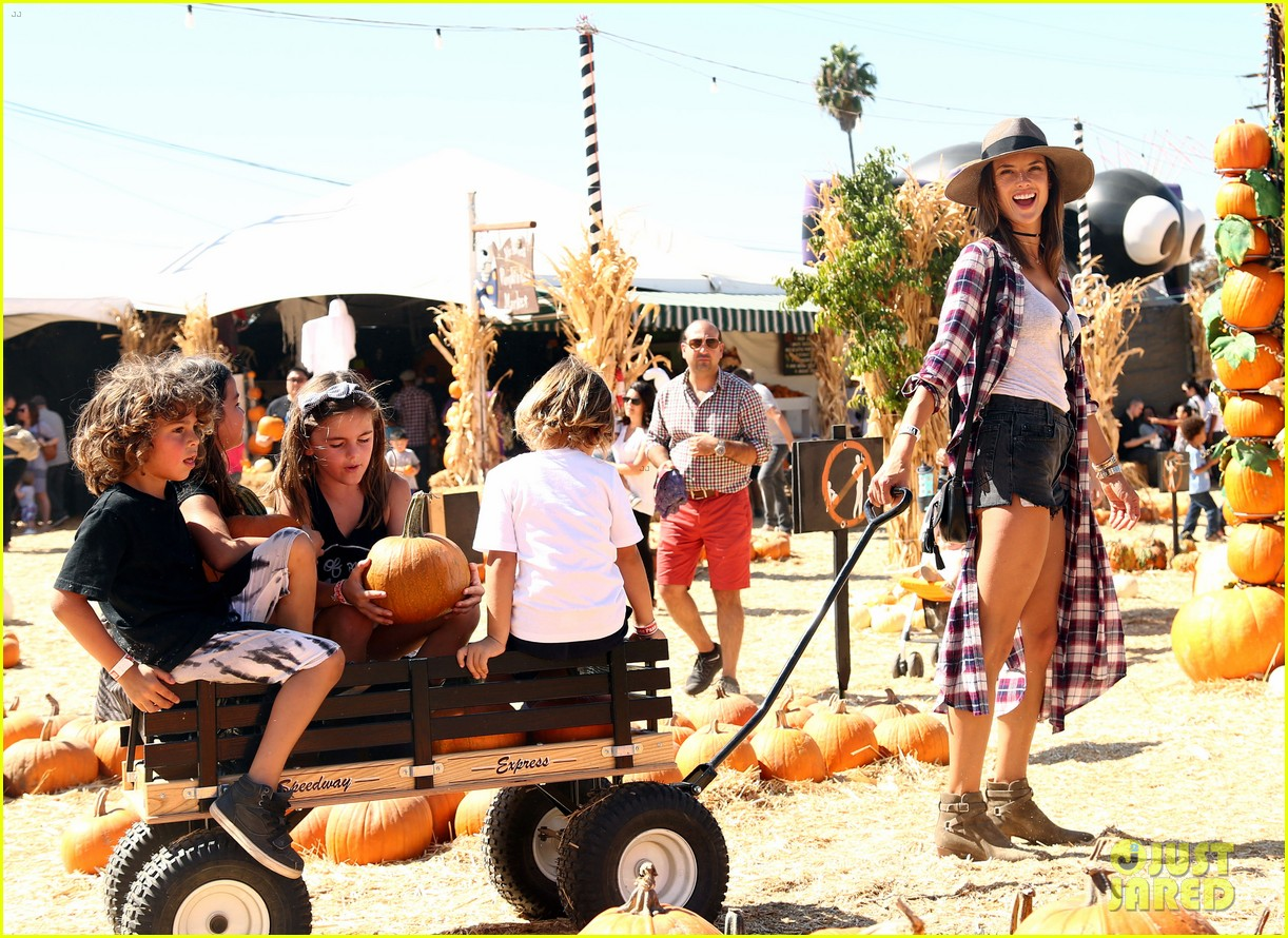 alessandra ambrosio visits a pumpkin patch with her kids 143782605