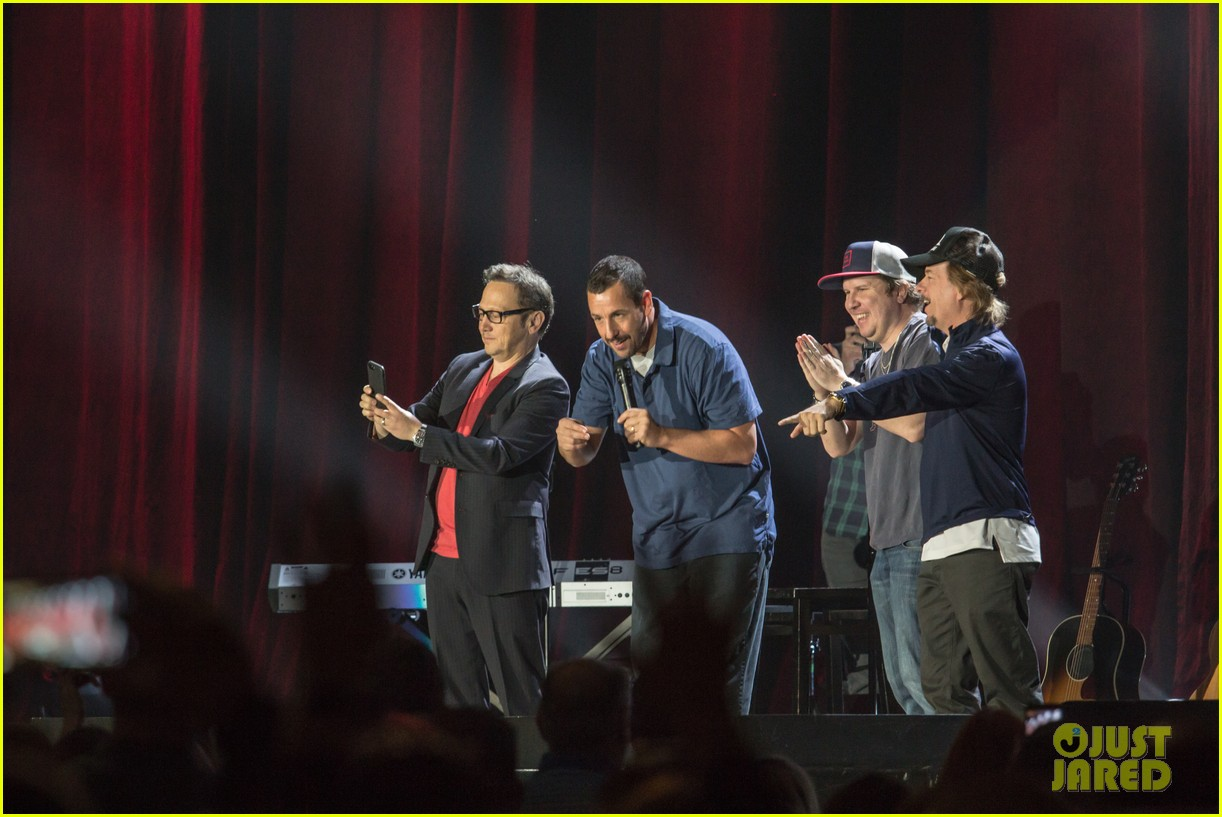 adam sandler is joined at his show by pals rob schneider david spade 014029596