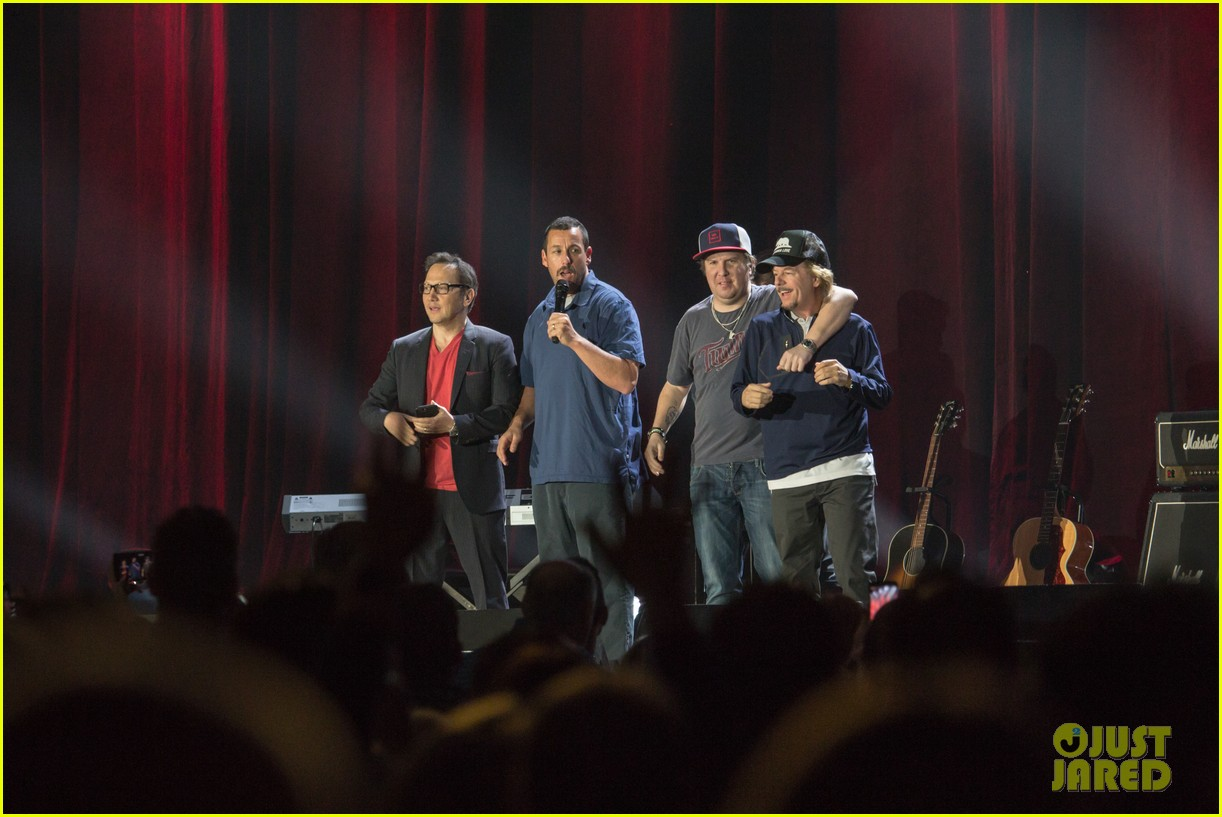 adam sandler is joined at his show by pals rob schneider david spade 02