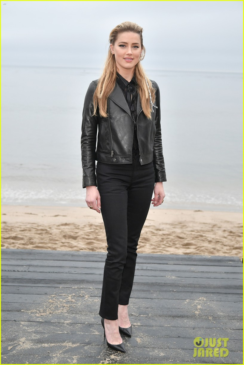 amber heard laura dern leather jackets saint laurent fashion show 034305254