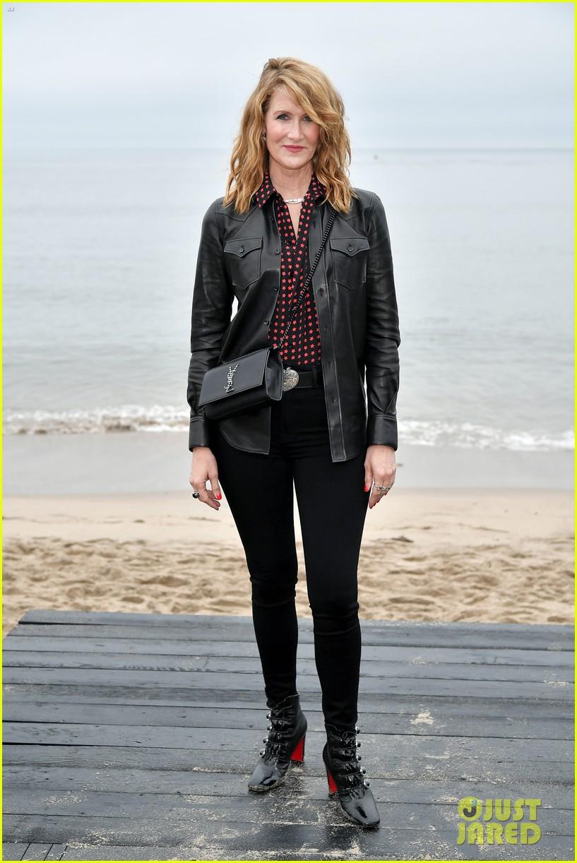 amber heard laura dern leather jackets saint laurent fashion show 064305257