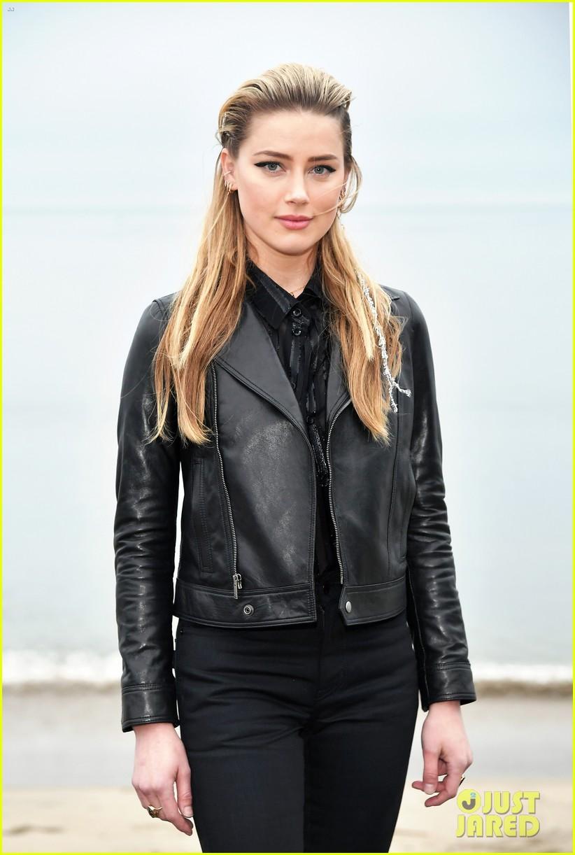 amber heard laura dern leather jackets saint laurent fashion show 124305263