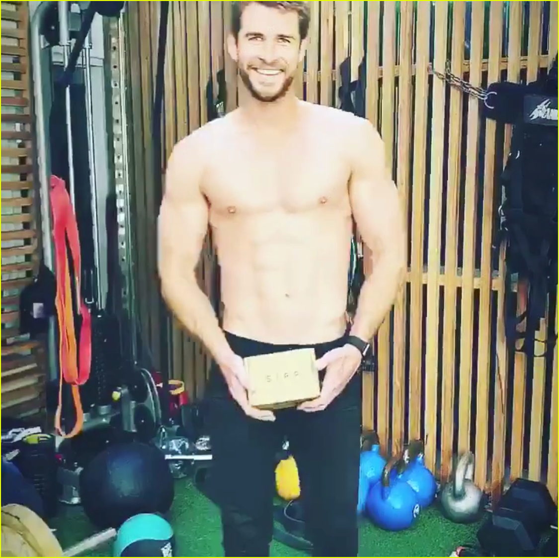 liam hemsworth goes shirtless bares six pack while working out with chris hemsworth 014330449