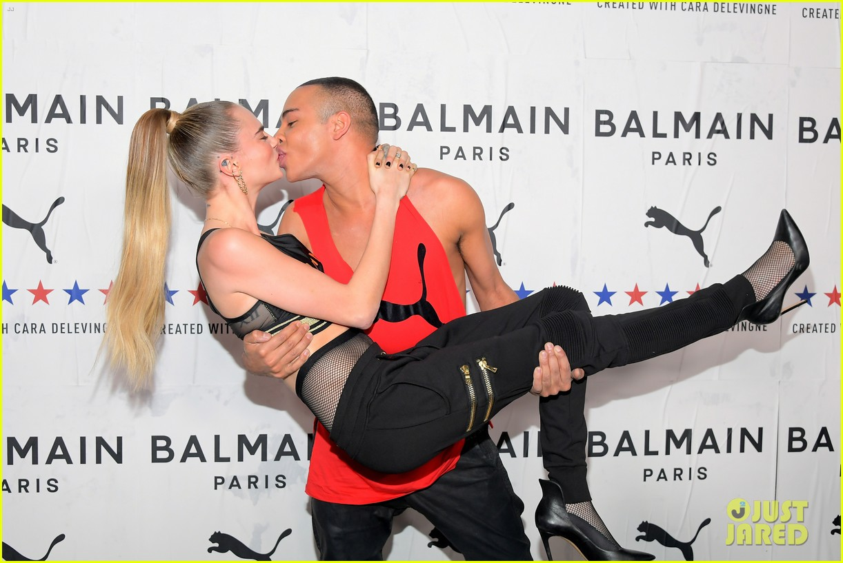 cara delevingne balmain olivier rousteing share kiss puma la launch party 024392072