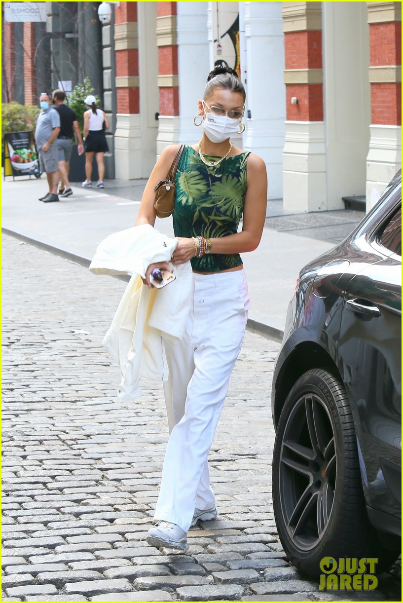 bella hadid rocks white pants while out in nyc 014480901