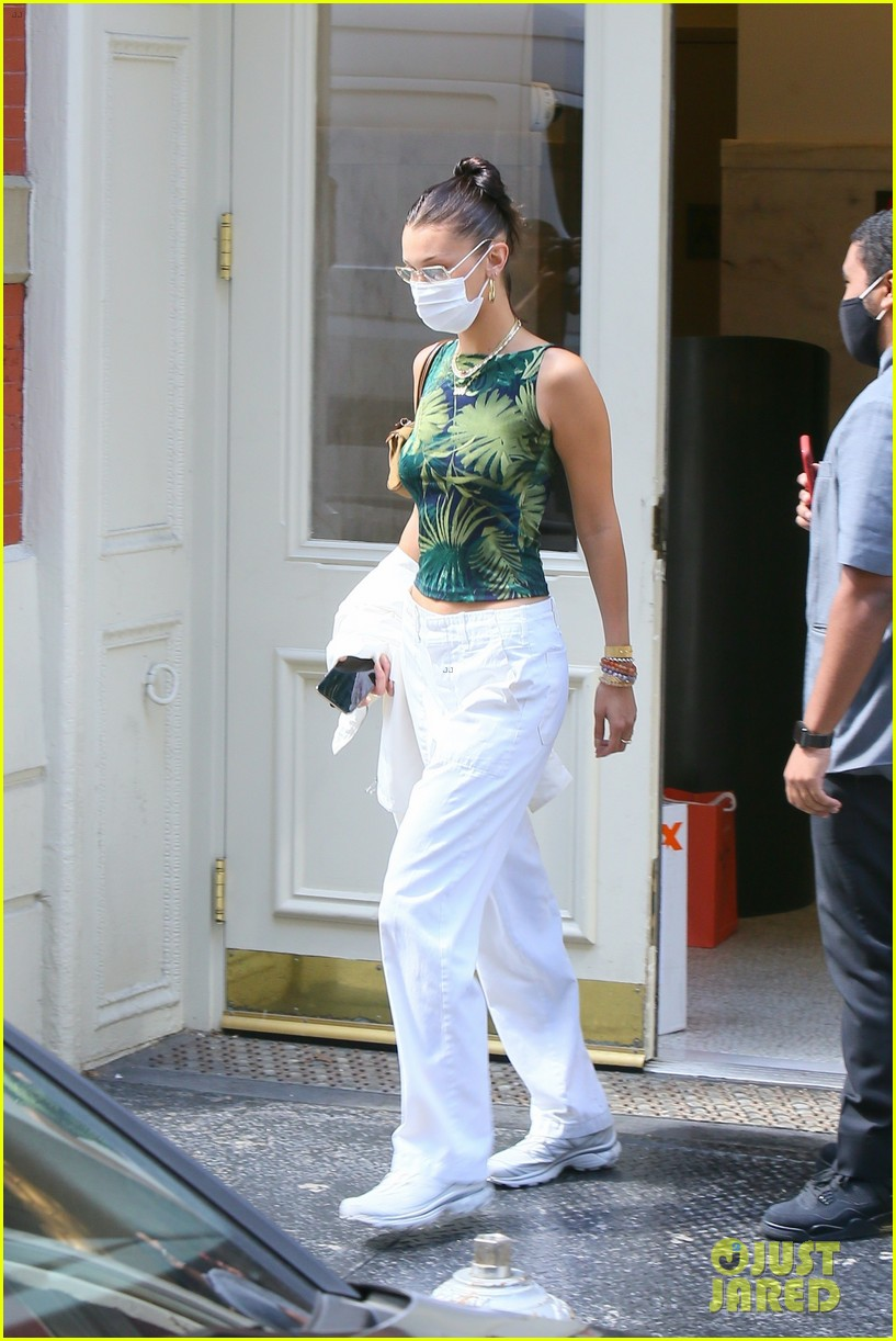 bella hadid rocks white pants while out in nyc 054480905