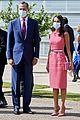 queen letizia pink dress third time wearing heraldado anniversary king felipe 24