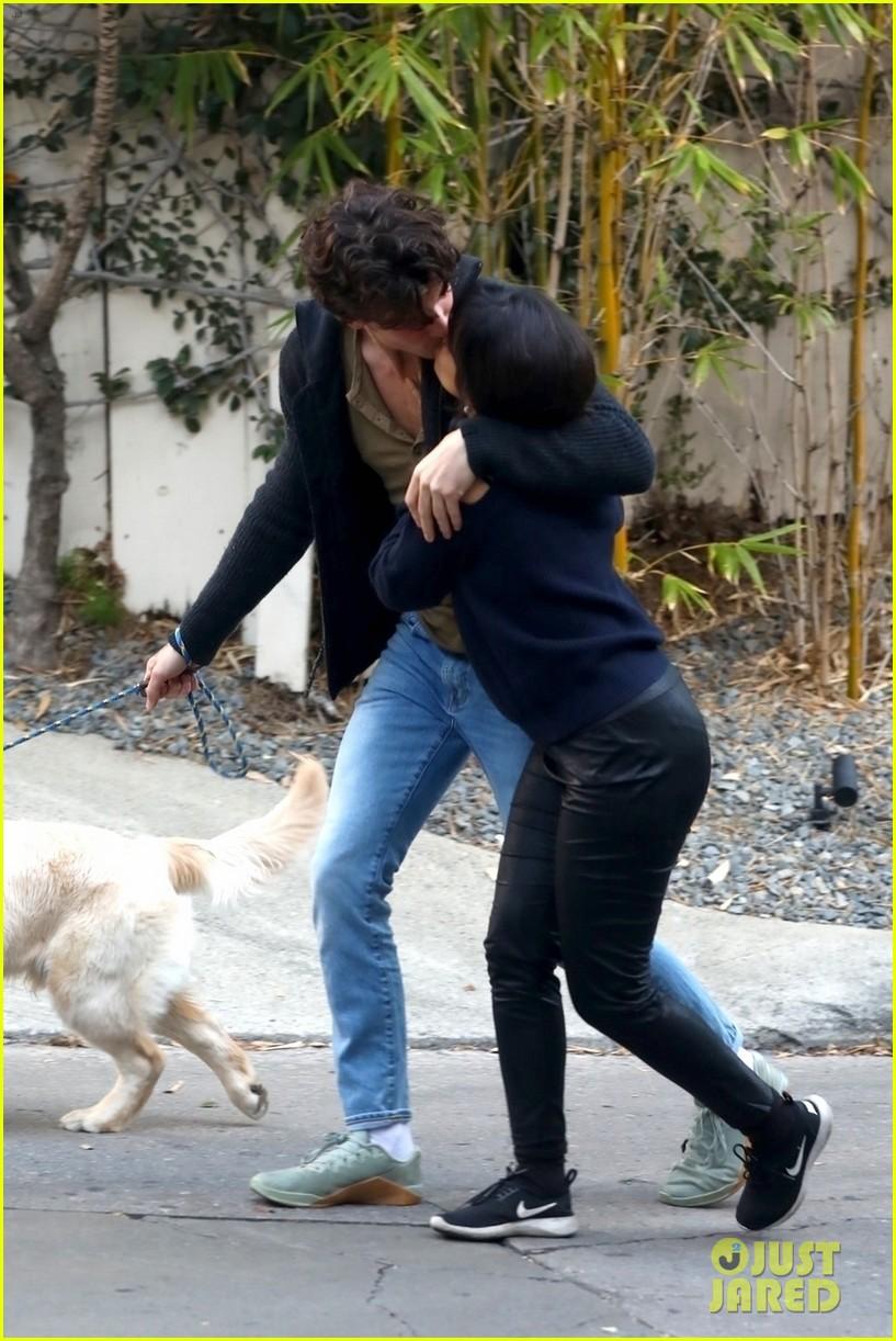 shawn mendes camila cabello share kiss walking dog 034535196