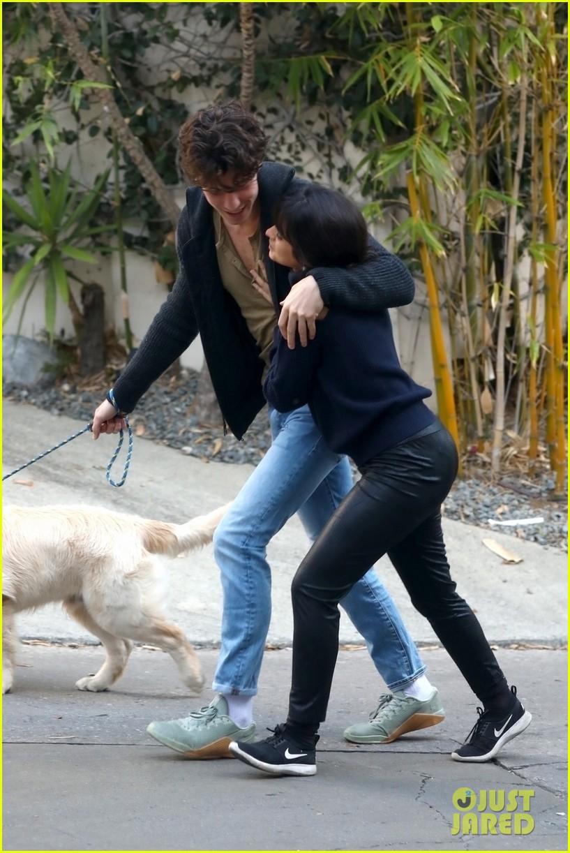 shawn mendes camila cabello share kiss walking dog 214535214