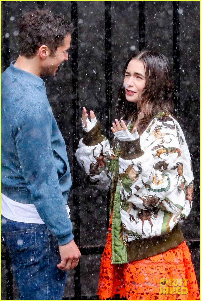lily collins caught in rain with lucas bravo emily in paris 074557983