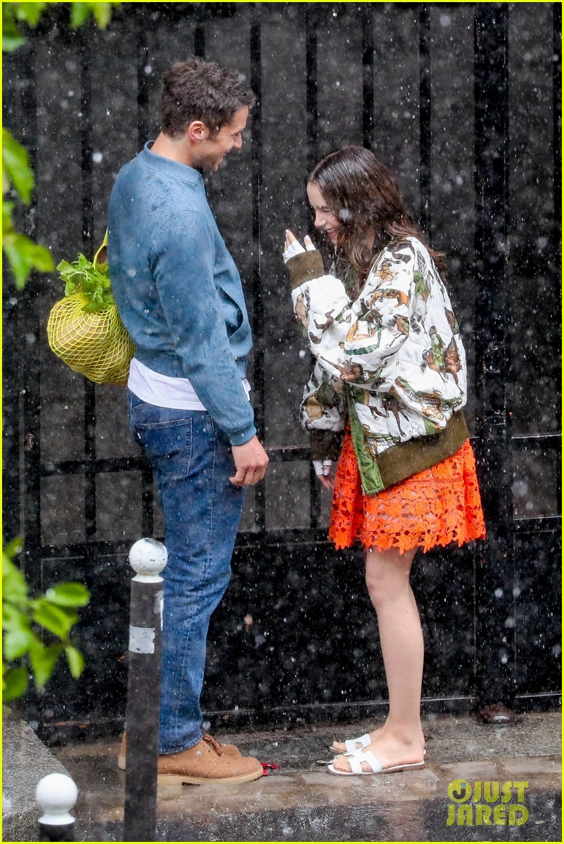 lily collins caught in rain with lucas bravo emily in paris 404558016