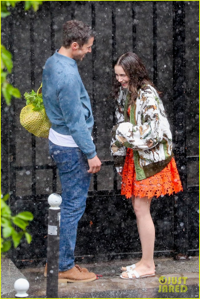 lily collins caught in rain with lucas bravo emily in paris 414558017