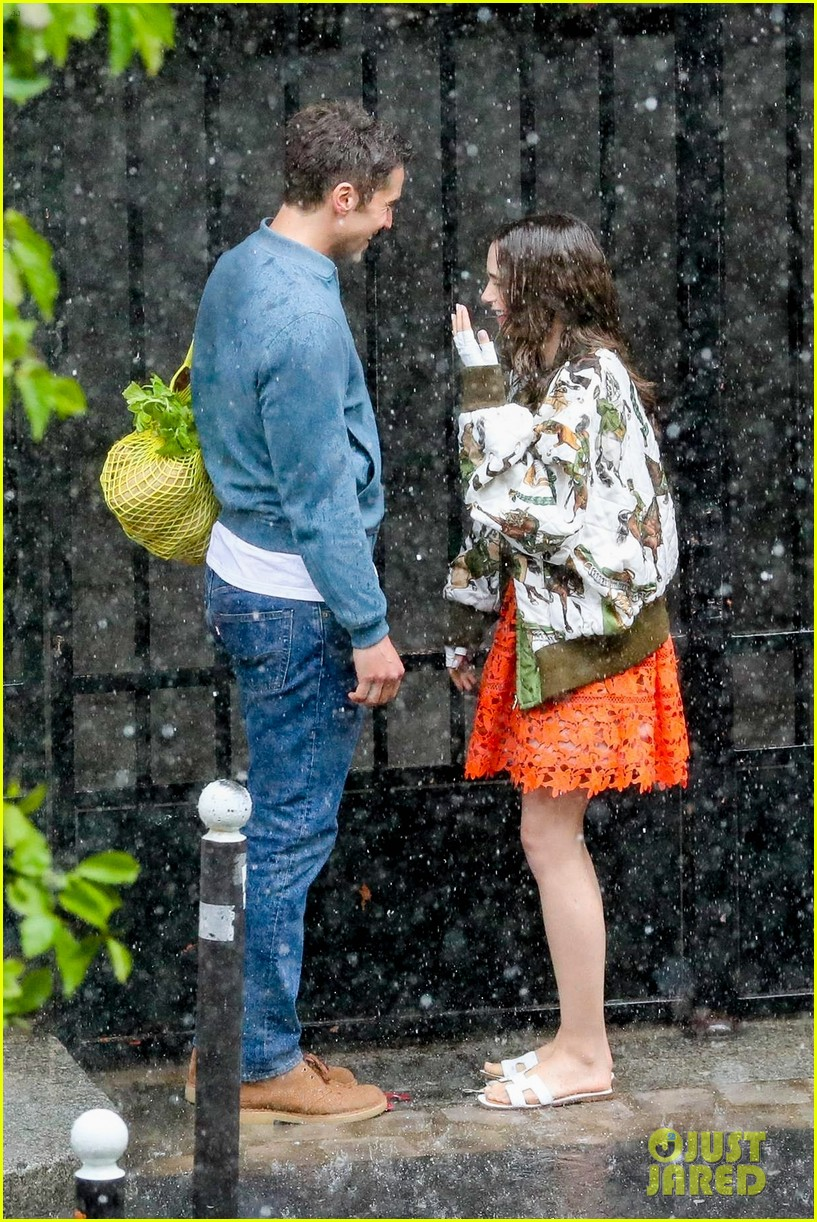 lily collins caught in rain with lucas bravo emily in paris 434558019