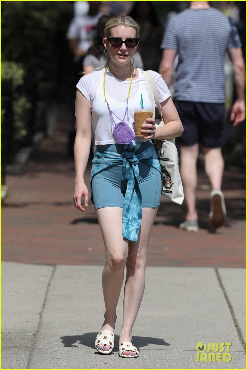 emma roberts biker shorts coffee run in boston 024567130