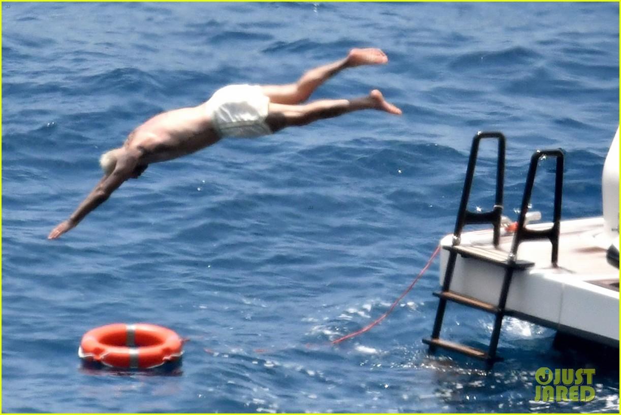 david beckham jumps off yacht with son cruz beckham 504594616