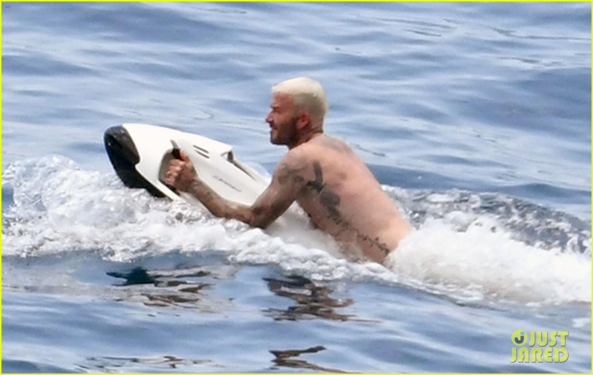 david beckham jumps off yacht with son cruz beckham 624594628