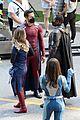 supergirl cast in full costume finale filming 10