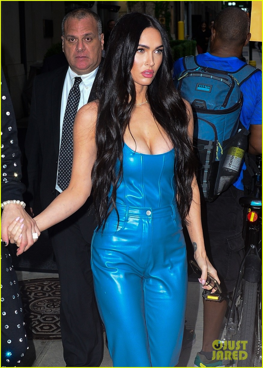 megan fox blue suit mgk studded suit nyc 064624724