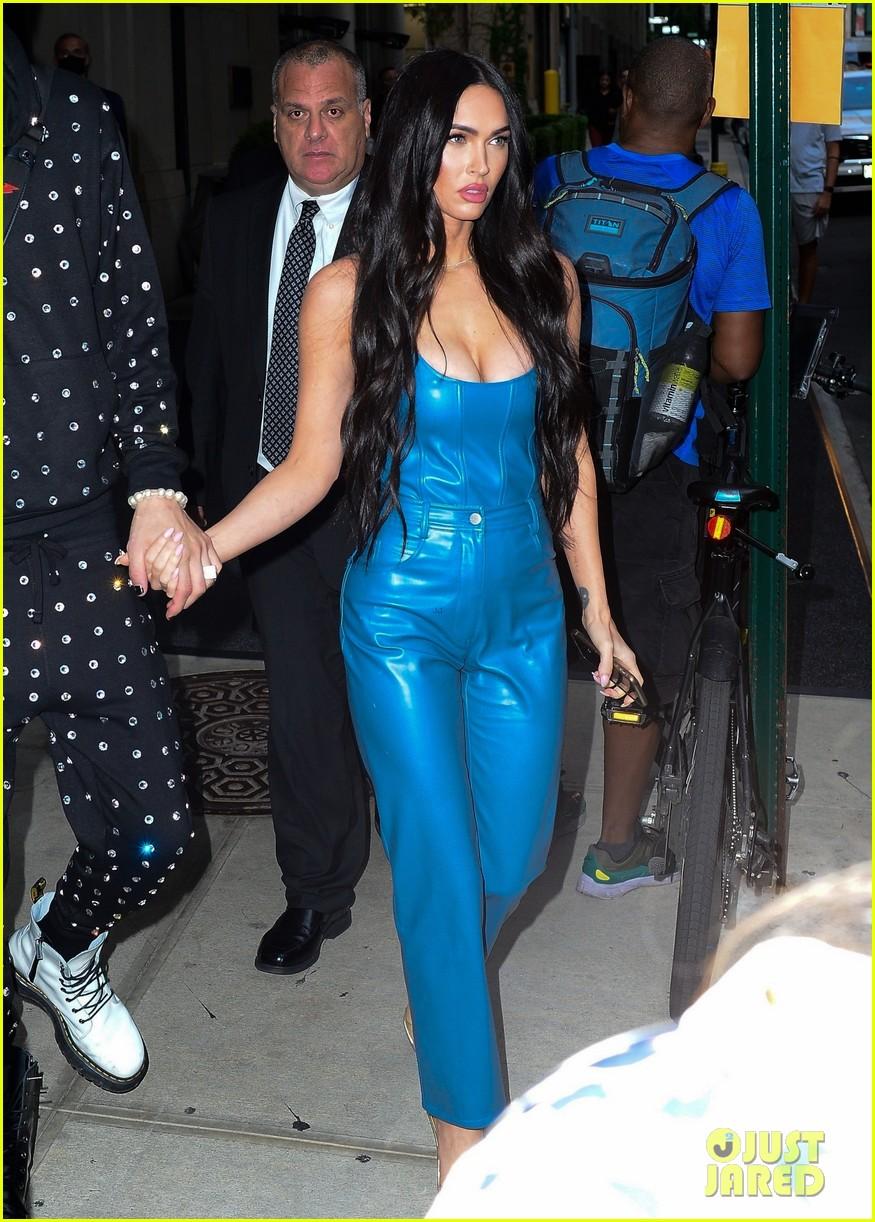 megan fox blue suit mgk studded suit nyc 074624725