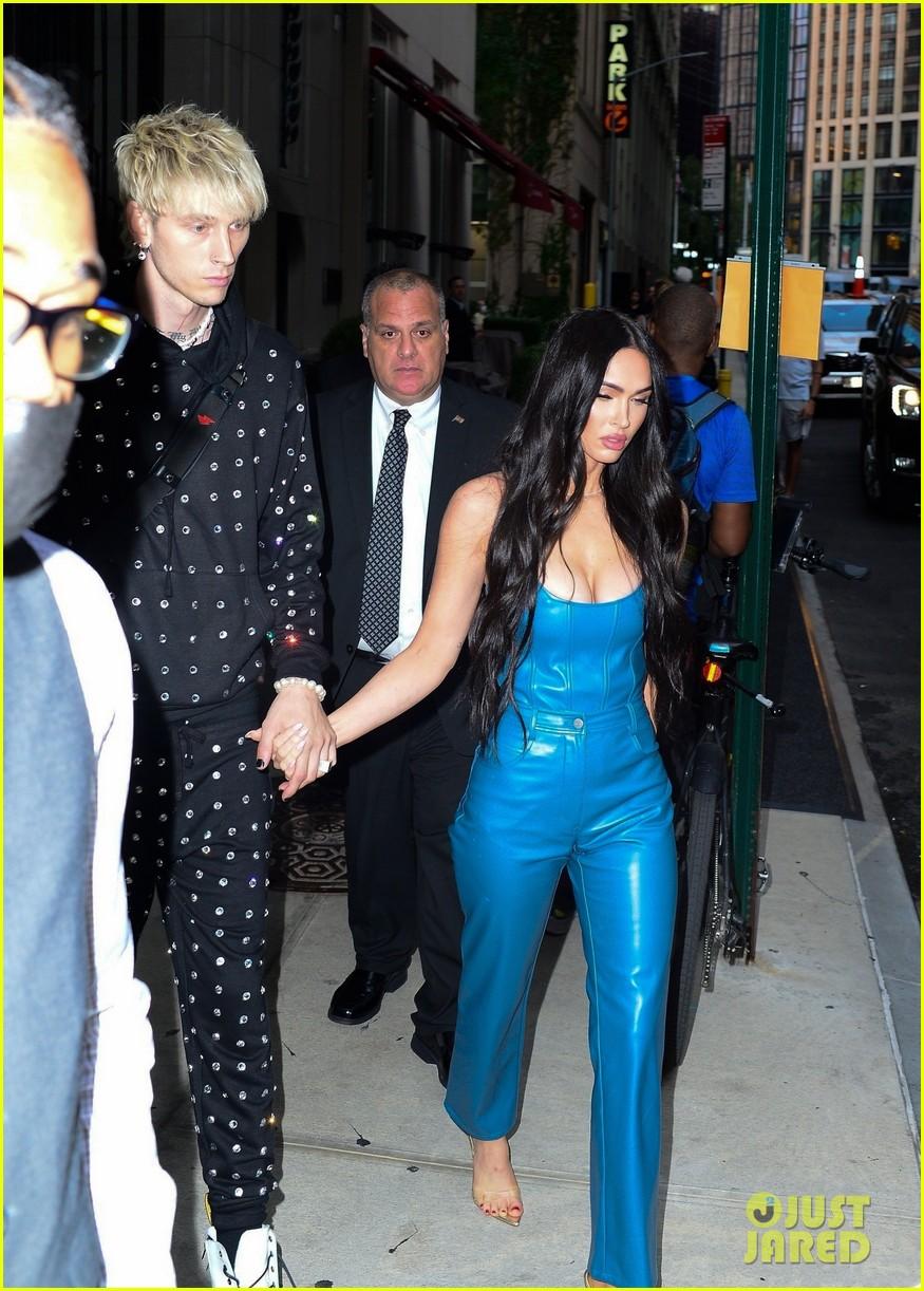 megan fox blue suit mgk studded suit nyc 084624726