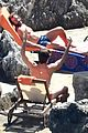 chris pine toned back muscles works on tan amalfi coast italy 11