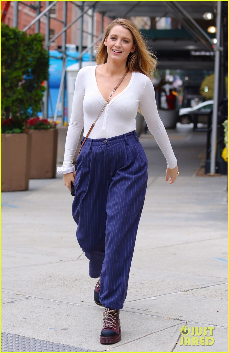 blake lively striped navy pants nyc errands 014643387