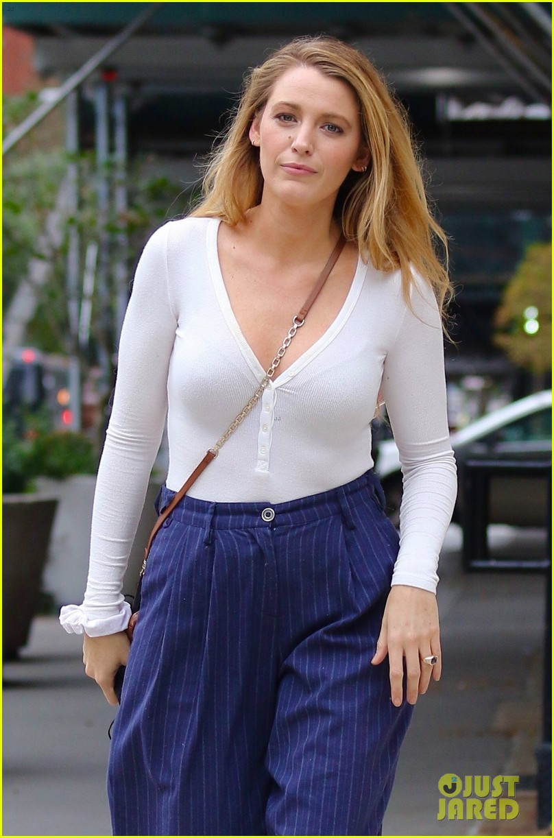 blake lively striped navy pants nyc errands 024643388