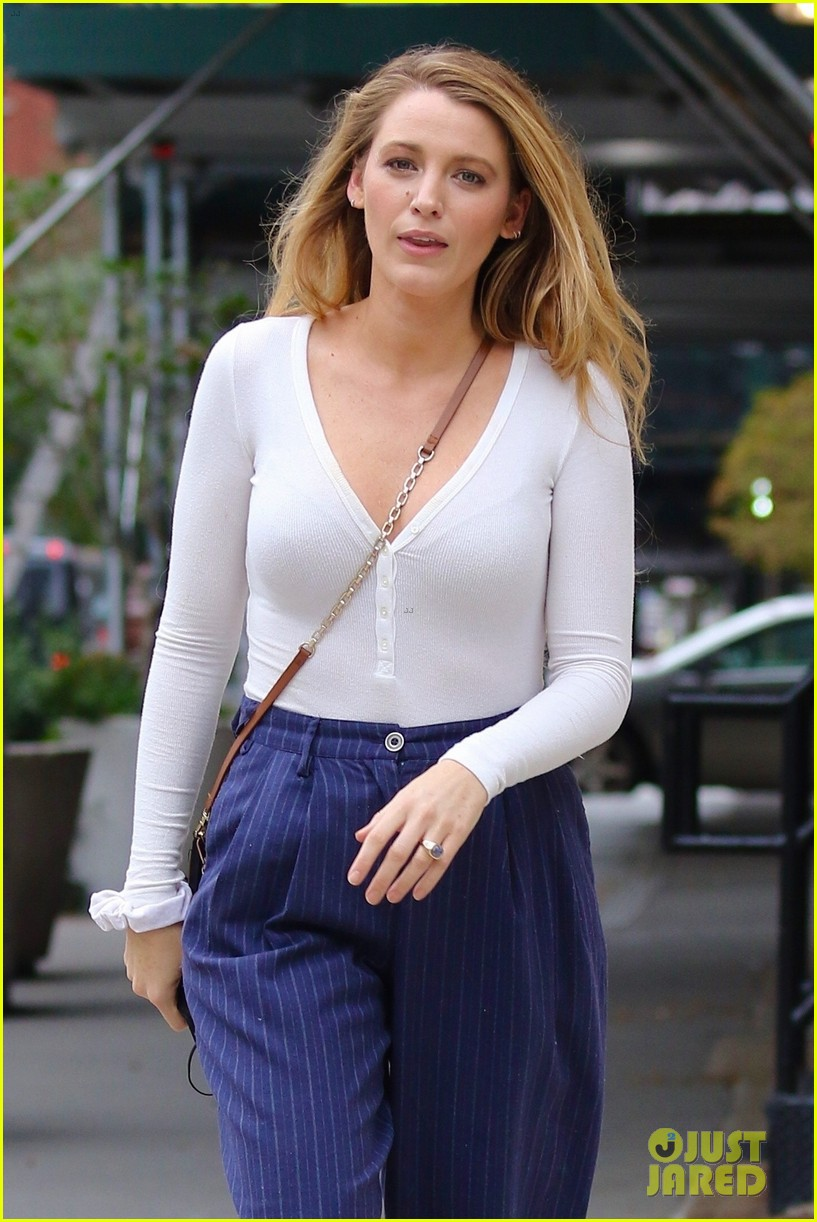 blake lively striped navy pants nyc errands 034643389