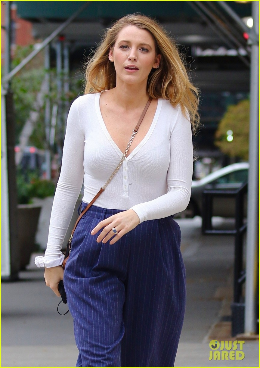 blake lively striped navy pants nyc errands 054643391