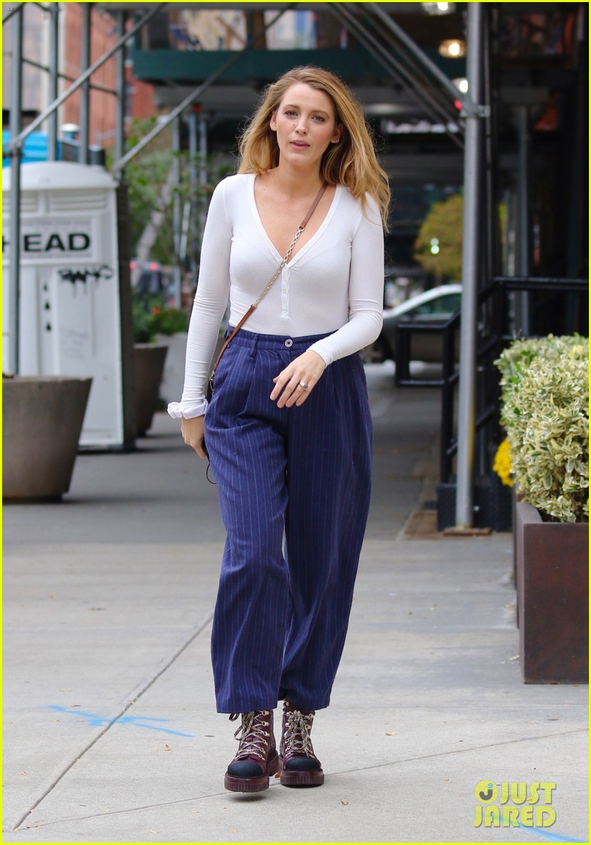 blake lively striped navy pants nyc errands 064643392
