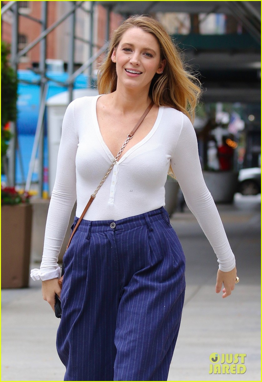 blake lively striped navy pants nyc errands 084643394