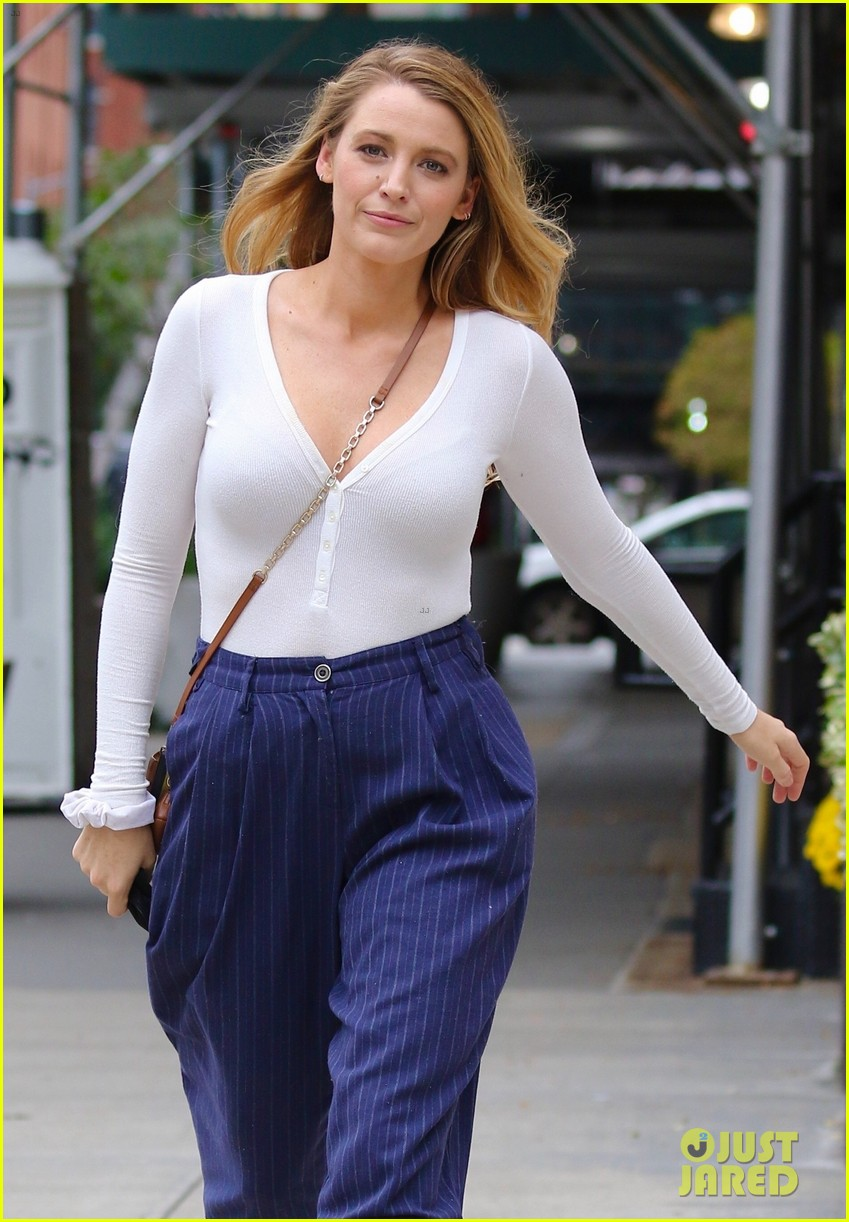 blake lively striped navy pants nyc errands 094643395