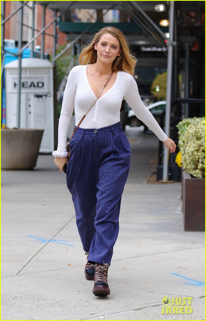 blake lively striped navy pants nyc errands 104643396