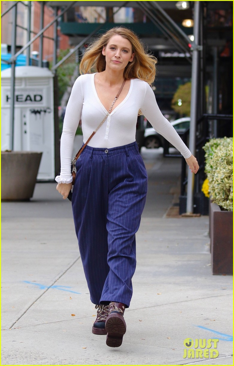 blake lively striped navy pants nyc errands 114643397