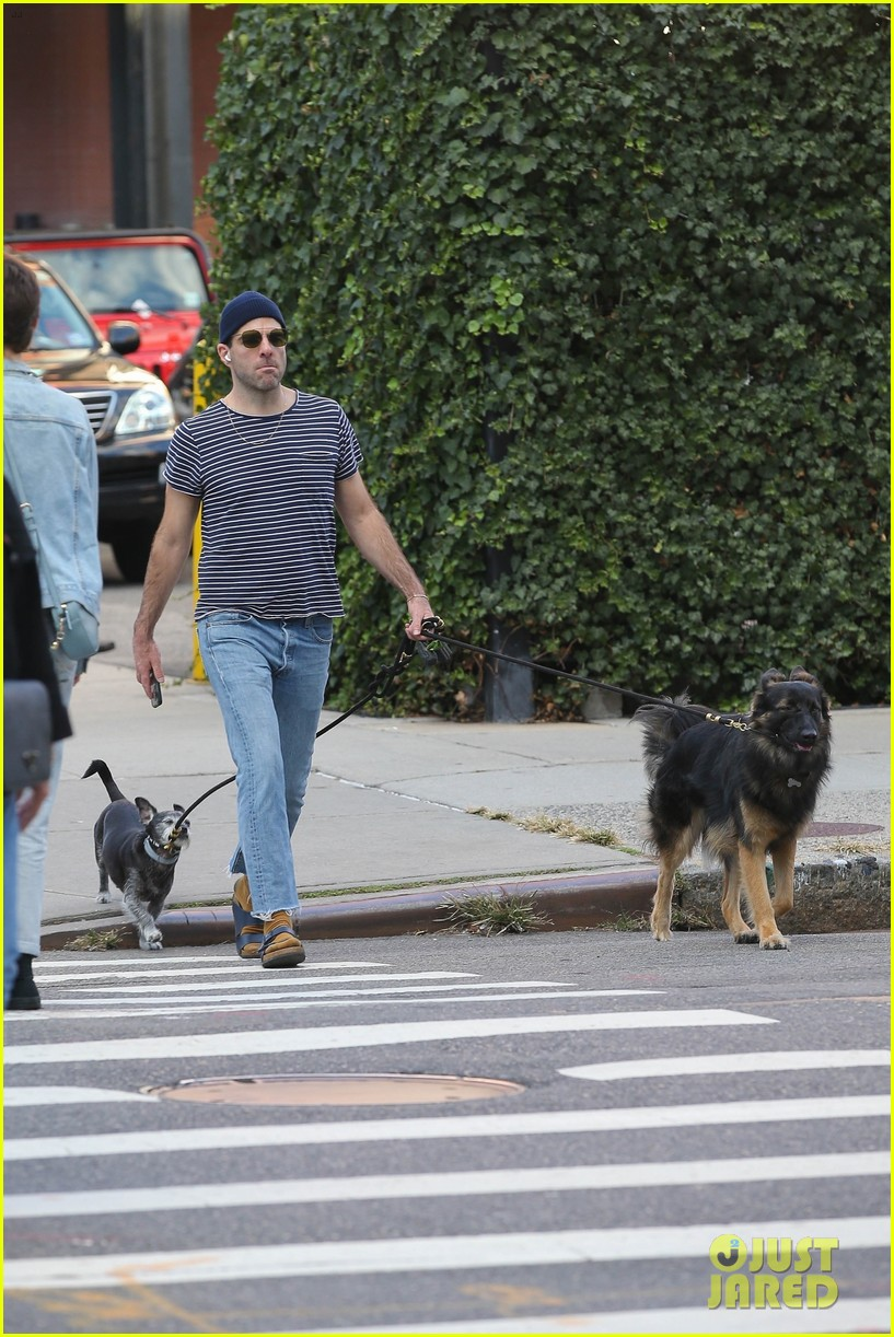 zachary quinto goes for a walk with his dogs nyc 054643949