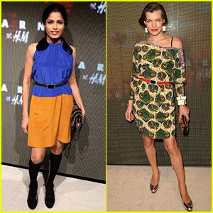 Freida Pinto & Milla Jovovich: Marni for H&M Launch!