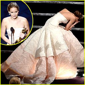 Jennifer Lawrence Wins Best Actress Oscar, Falls on Stage