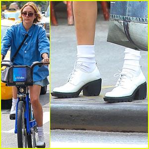 Chloe Sevigny Wears Wedge Heels for CitiBike Ride!