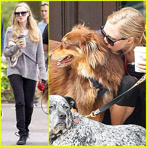 Amanda Seyfried Kisses Finn During Friday Walk!