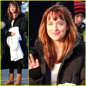 Dakota Johnson Bundles Up After Filming 'Fifty Shades' Scene