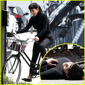 Kim Kardashian Falls Off Bike in Seemingly Staged Moment