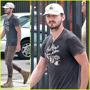 Shia LaBeouf Is Now Out of Office in a Harley Davidson Shirt!